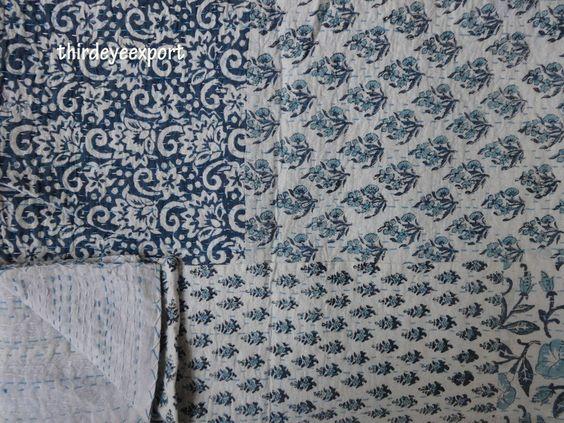 Indian Handmade Quilt Vintage Twin Kantha Bedspread Throw Cotton Blanket Ralli