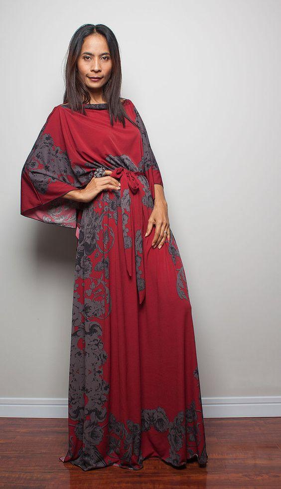 Summer Maxi Dress - Long Wide Sleeve Bohemian Print Dress : Funky ...