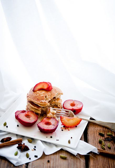Chai Pancakes with Black Tea-Poached Plums