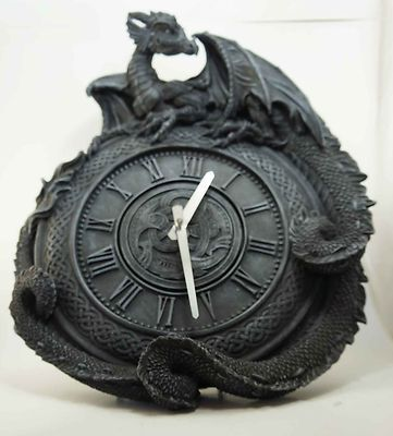 GOTHIC MEDIEVAL WALL CLOCK TIME PIECE ANCIENT DRAGON RESTING FIGURINE STATUE ART