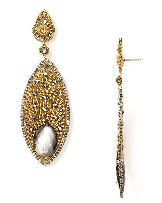 miguel ases | Miguel Ases Beaded Gold Teardrop Earrings