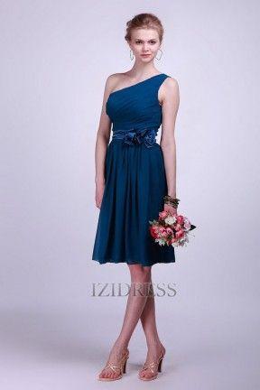 Sheath/Column One shoulder Chiffon Bridesmaids Dress - IZIDRESS.com