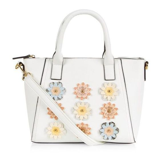 White 3D Floral Mini Tote Bag ($28) ❤ liked on Polyvore featuring bags, handbags, tote bags, mini tote bag, zip top tote, white tote bag, handbags totes and mini purse