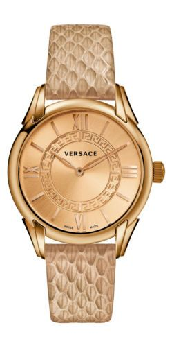 Versace Women's VFF020013 Dafne Round Beige Leather Strap Elaphe Design Watch