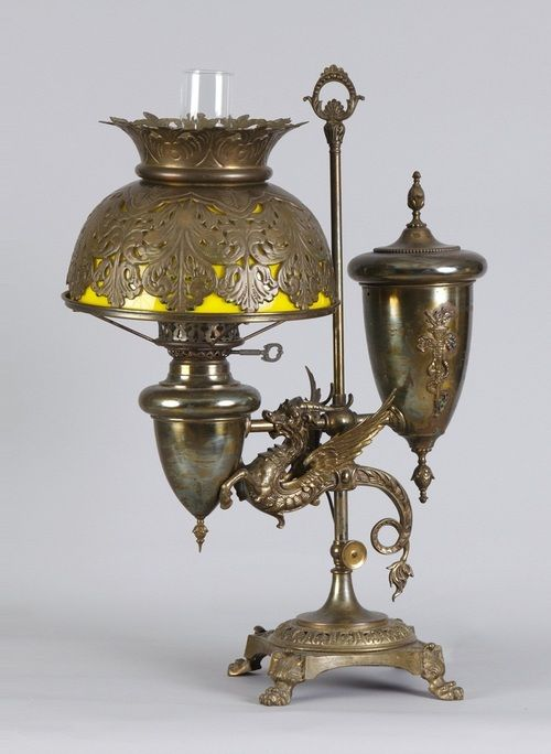 *Victorian brass winged griffin single student lamp.: