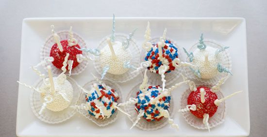 An assortment of Firecracker Cake Pops