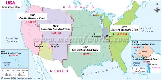 Click On Map To Learn About Best Times To Call In USA With All - Time zone map mexico