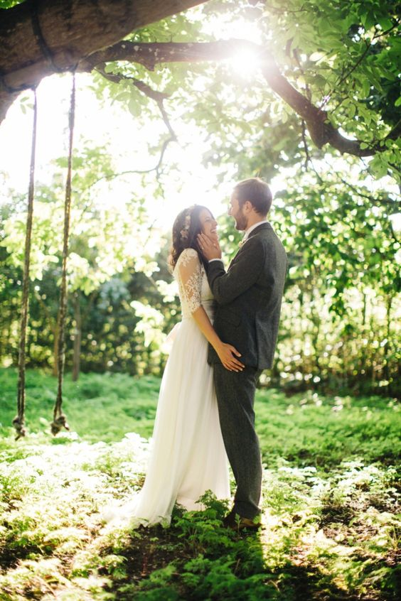 Leila wore a bespoke gown by dressmaker Dana Bolton for her rustic, homespun Autumn barn wedding. | Photography by http://www.richardskinsphotography.co.uk/