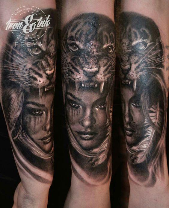 Tiger Woman Tattoo Realistic