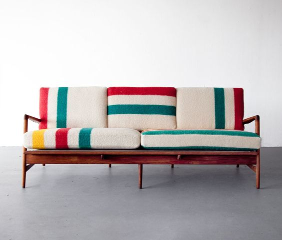 Midcentury sofa with hudson bay blanket