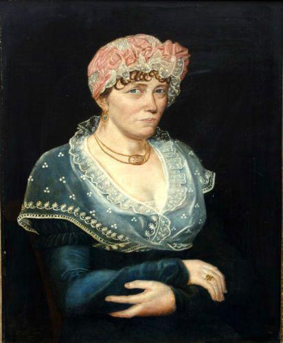 Portrait-femme-Epoque-1er-Empire-Napoleon-Bonaparte-XIXeme-siecle-Signe-date