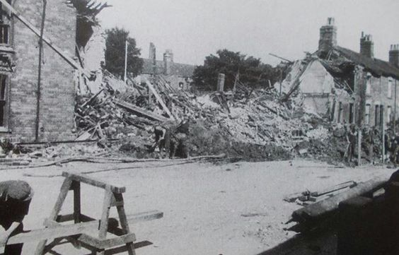 Heanage Road Grimsby WW 2 bomb damaged houses..