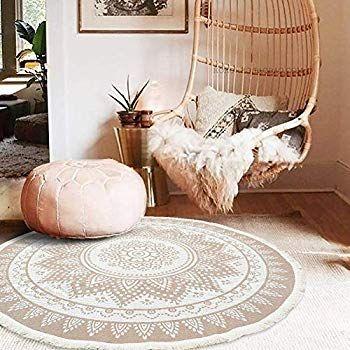Idee Home Hand Woven Round Area Chindi Rug Throw Rugs Door Mat