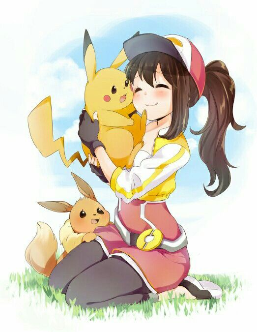 ♥ Girl... Pikachu... Brown Hair... Female Protagonist... Pokémon... Pokémon GO!... Eevee... Blush... Kawaii... Anime ♥