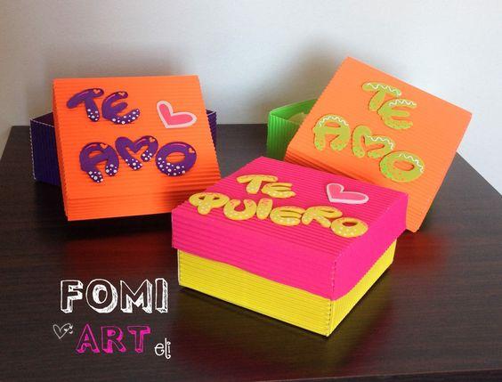 Cajas con mensajes en fomi cartas y detalles de amor - Manualidades cajas decoradas ...