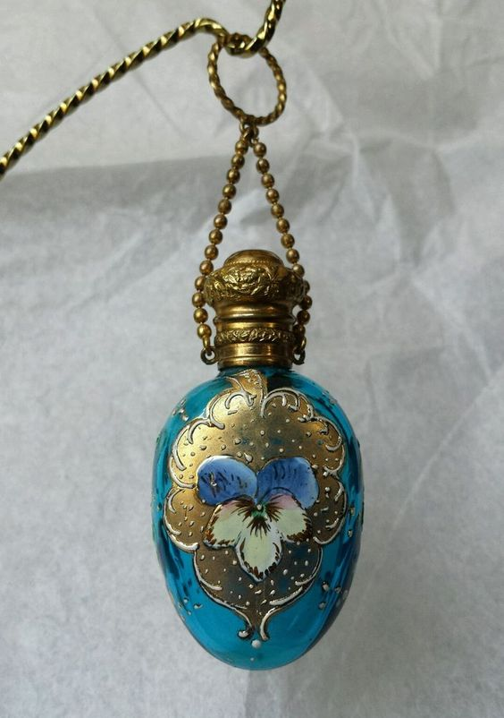 1800's Victorian Era Moser Glass Perfume Scent Chatelaine Bottle Enameled Pensée #Victorian
