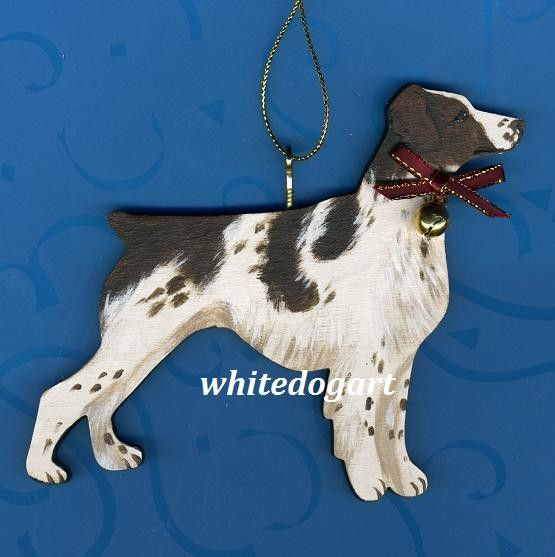 Handpainted Liver Brittany Spaniel Christmas Ornament