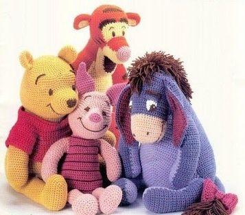 Crochet 4 toys Winnie pooh piglet tiger eeyore PDF Patterns   Fashioncraft MISI Handmade Shop