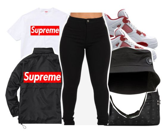 """one brand - supreme"" by pinksemia ❤ liked on Polyvore featuring NIKE, MCM, Billabong and Champion"