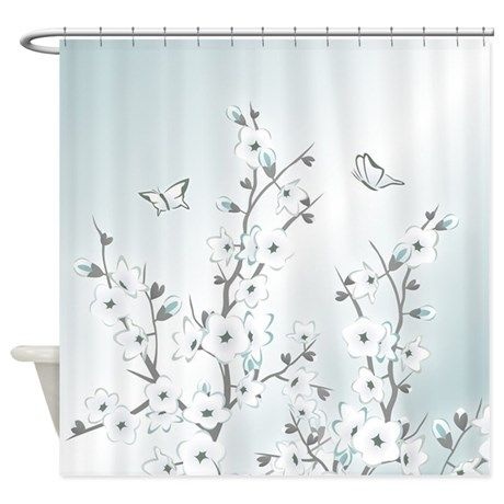 Shower Curtains cherry blossom shower curtains : Cherry Blossoms Mint Sakura Shower Curtain | Shower Curtains ...