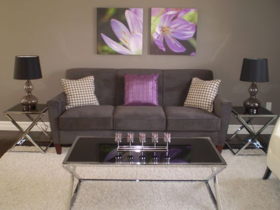 Pewter grey and revere pewter on pinterest for Purple and grey living room decorating ideas