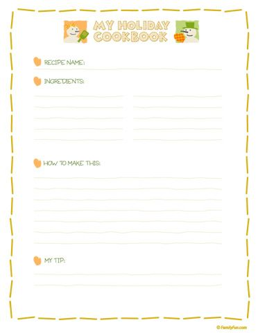 Blank Cookbook Template  CityEsporaCo