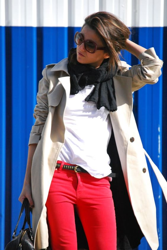 red jeans, solid black scarf, white t, and trench