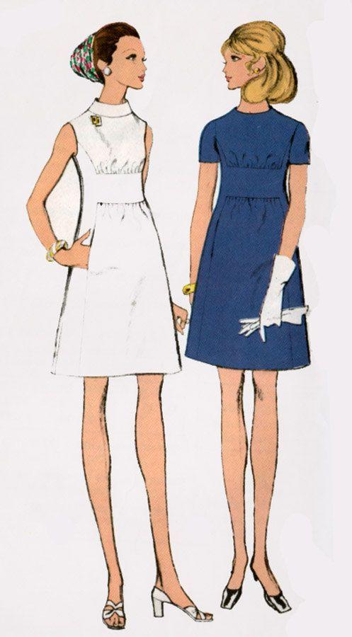 Vintage 60er Jahre Vogue 7720 Madmen Mod Kleid Mit Midriff Band