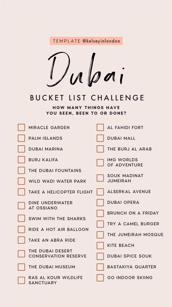 Top things to do in dubai - dubai Bucketlist - Instagram Story Template - kelseyinlondon - Kelsey Heinrichs - What to do in dubai - Where to go in dubai