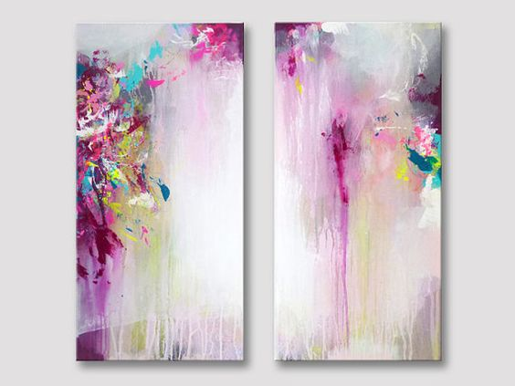 2 parts original abstract painting, modern fine art, acrylic painting, paintings, magenta burgundy pink rose white painting, canvas painting
