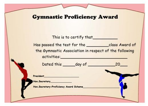 Gymnastic Certificate Creative Certificates Free To Download And