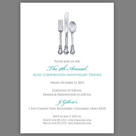 Printable Corporate Dinner Invitation Company Dinner Invitation – Free Dinner Invitation Templates Printable