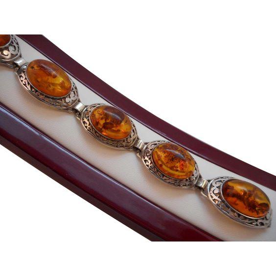 Vintage Hallmarked 925 Sterling Silver Art Deco Genuine Baltic Amber Bracelet