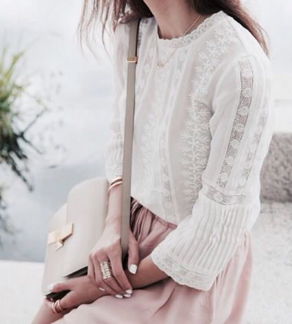 White lace top, pink skirt, soft