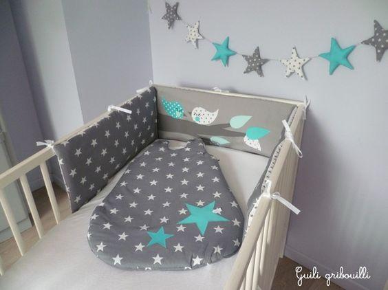 Reserve tour de lit et gigoteuse birds gris bleu mod le - Tour de lit bebe bleu turquoise ...