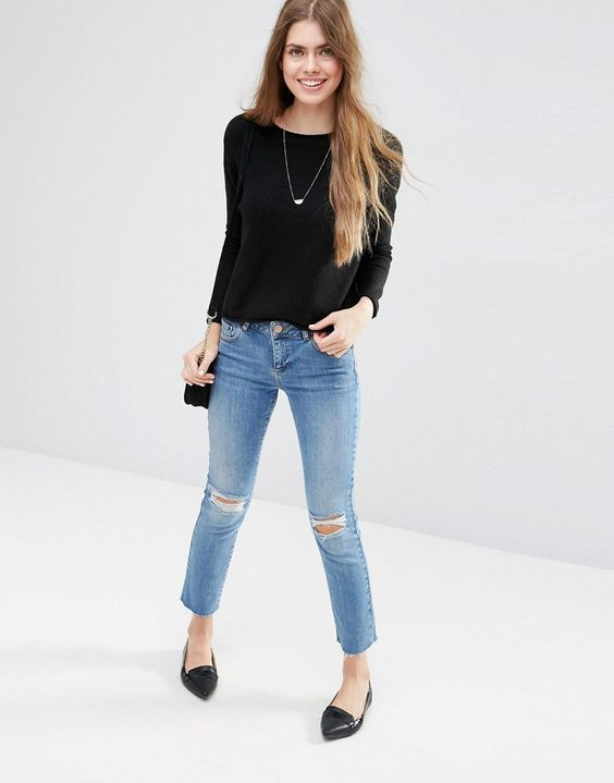 Image 4 of ASOS Cropped Sweater with Rolled Edge Detail in Fluffy Yarn