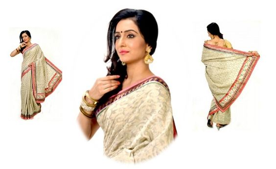 WheatBrown With Coral And Golden Border #Designer #CottonSaree @http://goo.gl/NVOvKf