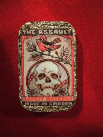 Dead Safety Matches swedish matchbox design on upcycled altoids art tin trinket box. $25.00, via Etsy.