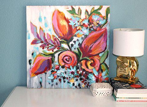 24x24 Original Acrylic Painting-Modern Roses