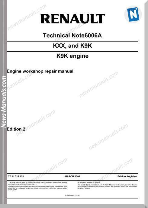Renault Kxx And K9k Engine Workshop Repair Manual Repair Manuals Repair Manual