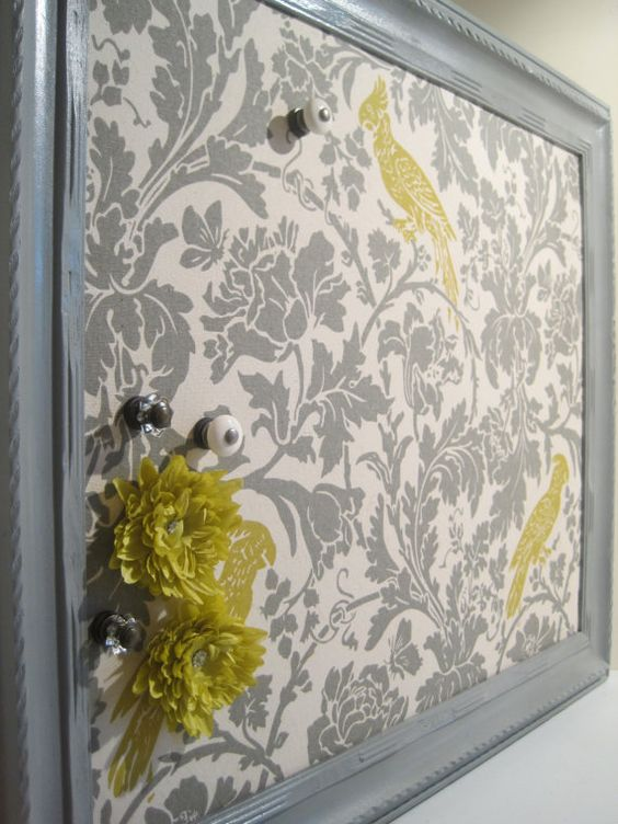 Fabric covered offices and fabrics on pinterest for Pretty bulletin board