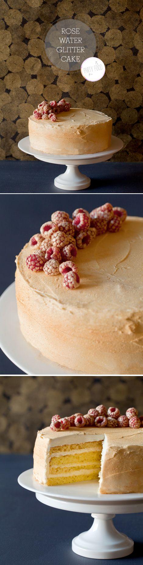 rosewater glitter cake