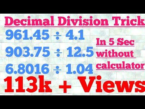 Divide Decimal Numbers Easily Vedic Maths Decimal Division Trick Youtube Dividing Decimals Math Decimals Decimal Division