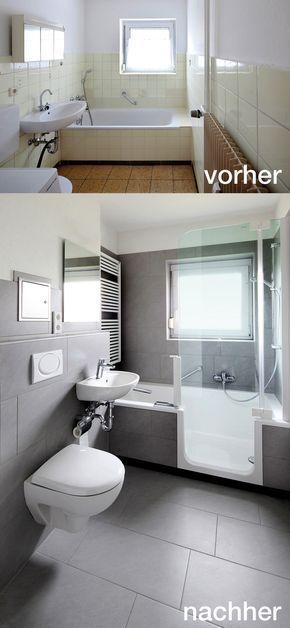 Badrenovierung mit TWINLINE 2 Duschbadewanne (teilversenkt mit nur ...