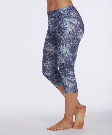 Another great find on #zulily! Twilight Blue Damask Capri Leggings by Balance Collection #zulilyfinds