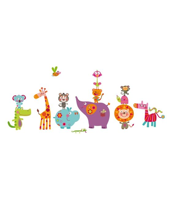 vinilo infantil animales salvajes felices
