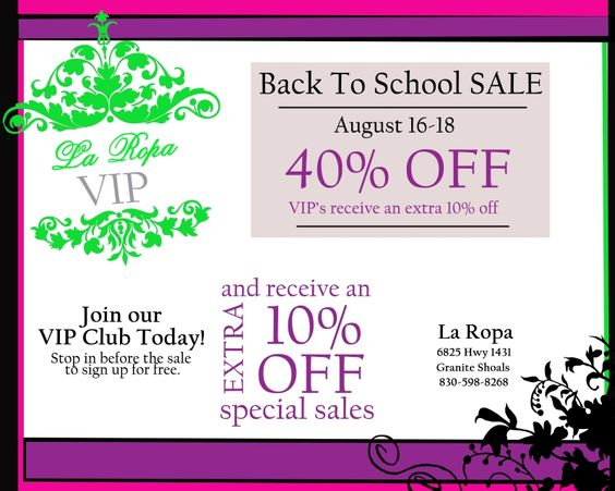 "Snoopers Boutique & La Ropa Clothing Store - Granite Shoals - Come Shop with Us! August 16th - 18th - Back To School Sale - 40% OFF almost everything! VIP's receive an extra 10% OFF. Stop in NOW to get your free VIP Pass. IT""S TAX FREE WEEKEND THIS WEEKEND!!  La Ropa Exchange 6825 Hwy 1431 - Granite Shoals  Snoopers Boutique 8039 Hwy 1431 - Granite Shoals  https://www.facebook.com/SnoopersAtTheLake"