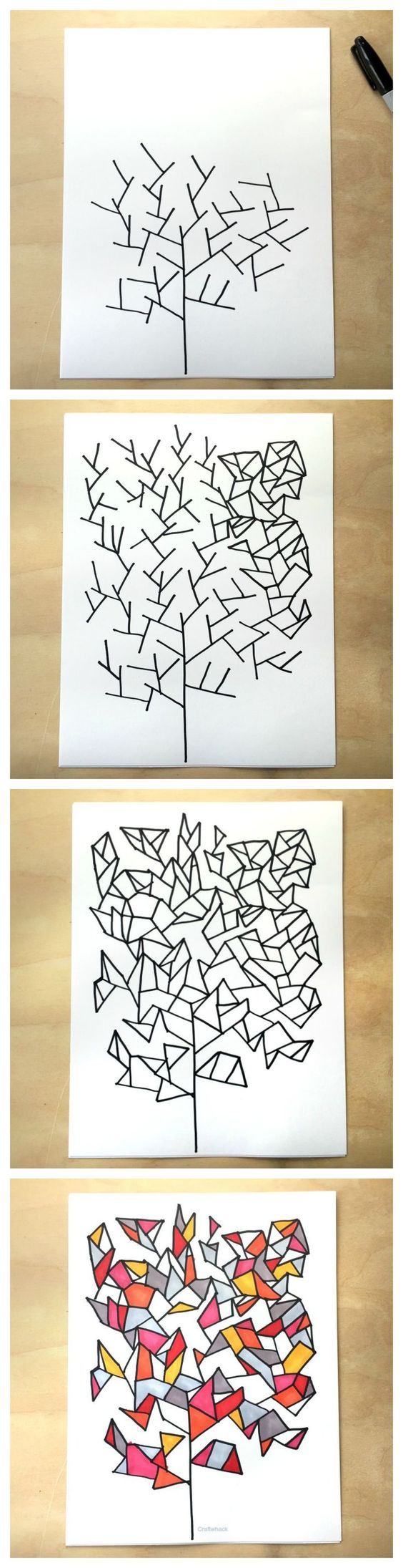 Simple drawing game- draw some geometry trees - from Tangle Art and Drawing Games for Kids book: