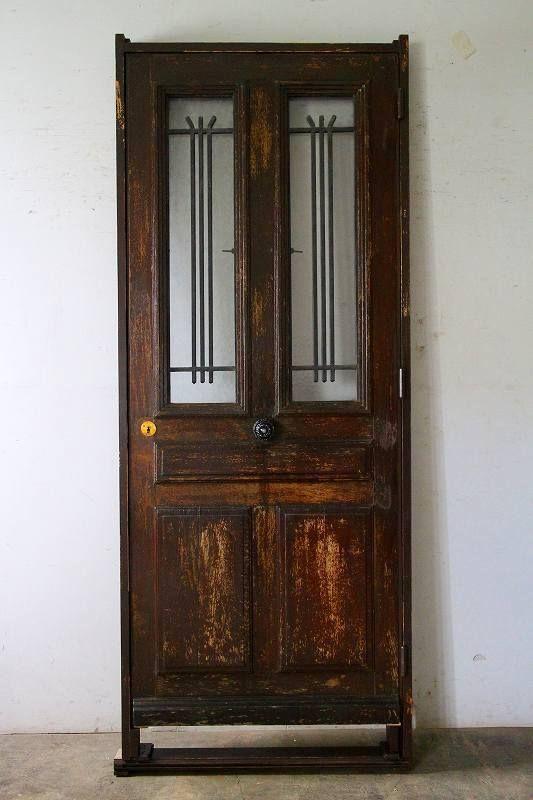 シンプルなアイアン飾り 玄関ドア 木枠完成品付 外開き フランス