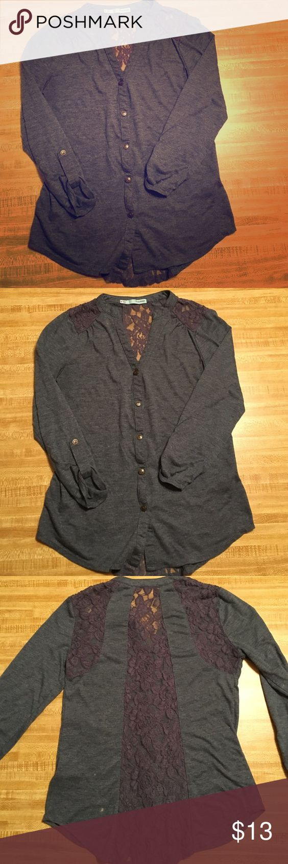 Maurice's Lace Cardigan Blue/Grey Cardigan with see-through lace ...